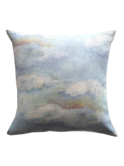 『SALE セール40%OFF』メゾン レヴィ Maison Levy リネンクッションカバー Cushion Cover Linen・NUAGES BLUES(W50xH50cm・カバーのみ)