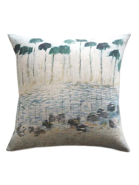 『SALE セール50%OFF』メゾン レヴィ Maison Levy リネンクッションカバー Cushion Cover Linen・REFLEJOS AGUA(W50xH50cm・カバーのみ)
