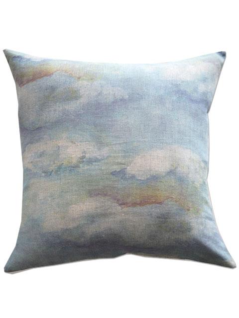 『SALE セール40%OFF』メゾン レヴィ Maison Levy リネンクッションカバー Cushion Cover Linen・NUAGES BLUES(W55xH55cm・カバーのみ)