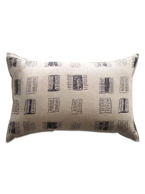 メゾン レヴィ Maison Levy リネンクッションカバー Cushion Cover Linen・FENETRE SUR COUR(W60xH40cm・カバーのみ)Type.A
