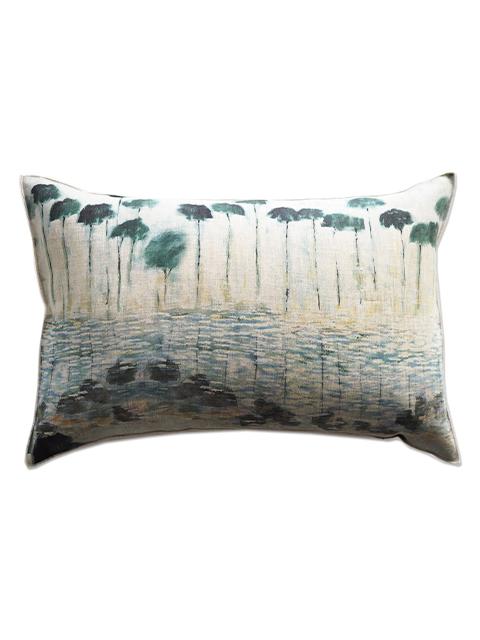 メゾン レヴィ Maison Levy リネンクッションカバー Cushion Cover Linen・REFLEJOS AGUA(W60xH40cm・カバーのみ)Type.B