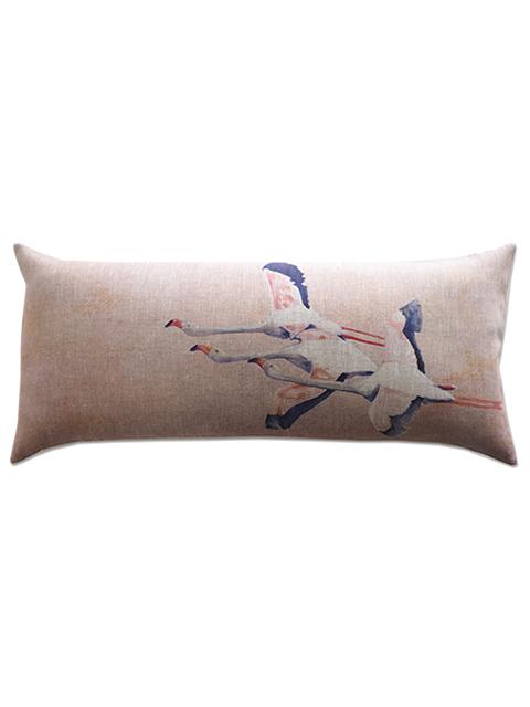 メゾン レヴィ Maison Levy リネンクッションカバー Cushion Cover Linen・FLAMINGO ROSE(W70xH32cm・カバーのみ)