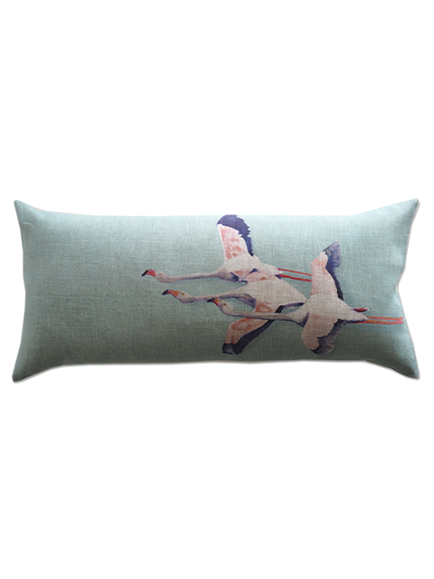 『SALE セール50%OFF』メゾン レヴィ Maison Levy リネンクッションカバー Cushion Cover Linen・FLAMINGO VERT DE GRIS(W70xH32cm・カバーのみ)