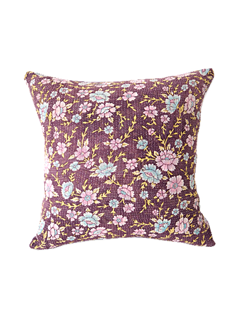 『Sorairo+』オリジナル ヴィンテージカンタ クッションカバー Vintage Kantha Cushion cover(W35xH35cm/Flower/lavender/カバーのみ)