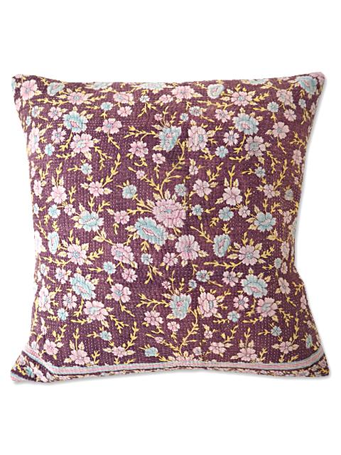 『Sorairo+』オリジナル ヴィンテージカンタ クッションカバー Vintage Kantha Cushion cover(W45xH45cm/Flower/裏面:ラベンダー/カバーのみ)Type.A