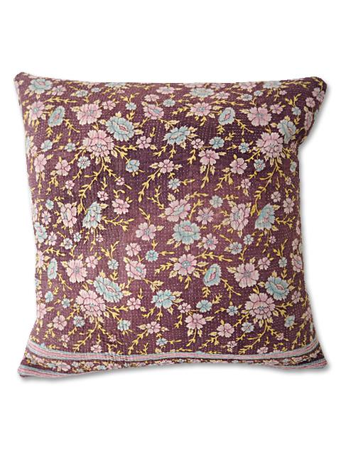 『SALE セール10%OFF』『Sorairo+』オリジナル ヴィンテージカンタ クッションカバー Vintage Kantha Cushion cover(W45xH45cm/Flower/裏面:ラベンダー/カバーのみ)Type.B