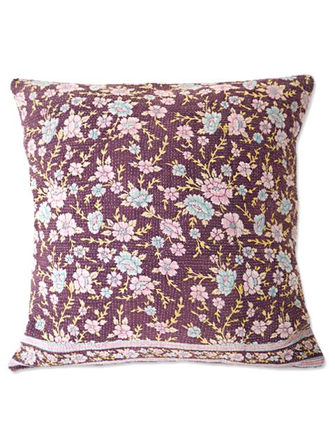 『SALE セール10%OFF』『Sorairo+』オリジナル ヴィンテージカンタ クッションカバー Vintage Kantha Cushion cover(W45xH45cm/Flower/裏面:モーヴ/カバーのみ)Type.A