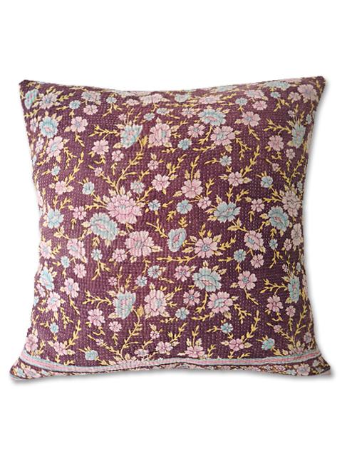 『SALE セール10%OFF』『Sorairo+』オリジナル ヴィンテージカンタ クッションカバー Vintage Kantha Cushion cover(W45xH45cm/Flower/裏面:モーヴ/カバーのみ)Type.B