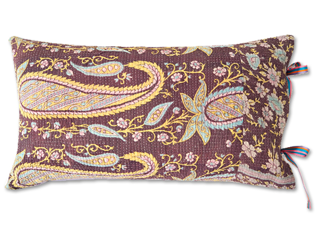 『Sorairo+』オリジナル ヴィンテージカンタ ピロークッション Vintage Kantha Pillow Cushion(W46xH26.5cm/Paisley/裏面:ラベンダー/中材入り)