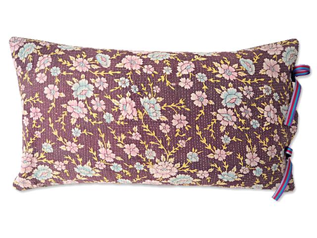 『Sorairo+』オリジナル ヴィンテージカンタ ピロークッション Vintage Kantha Pillow Cushion(W47.5xH27.5cm/Flower/裏面:モーヴ/中材入り)