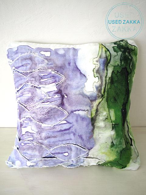 『USED ZAKKA』ANTHROPOLOGIE アンソロポロジー・クッションカバー Blurred Geology Green Vert (W41xH41cm・カバーのみ)