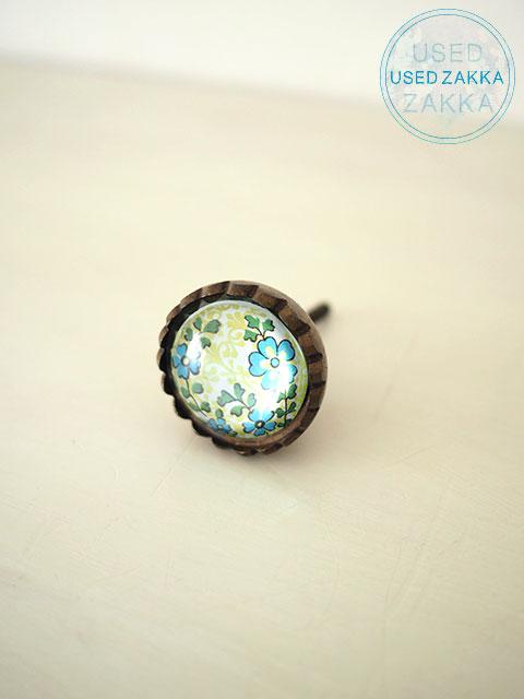 『USED ZAKKA』ANTHROPOLOGIE アンソロポロジー・アンティーク風 ガラス&金属製 小花プリントのノブ PRINT MIX FLORAL KNOB・(ブルーフラワー)(1個)