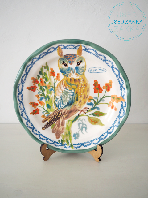 『USED ZAKKA』ANTHROPOLOGIE アンソロポロジー・Nathalie Lete ナタリーレテ 磁器製 プレート OWL・(Green)