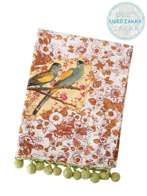 『USED ZAKKA』ANTHROPOLOGIE アンソロポロジー・テーブルリネン TREE DWELLER APPLIQUE BIRDS (W54.5xH73cm)