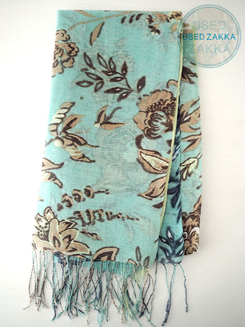 『USED ZAKKA』EPICE エピス リネン製 ストール/Flower/Mint blue x Beige