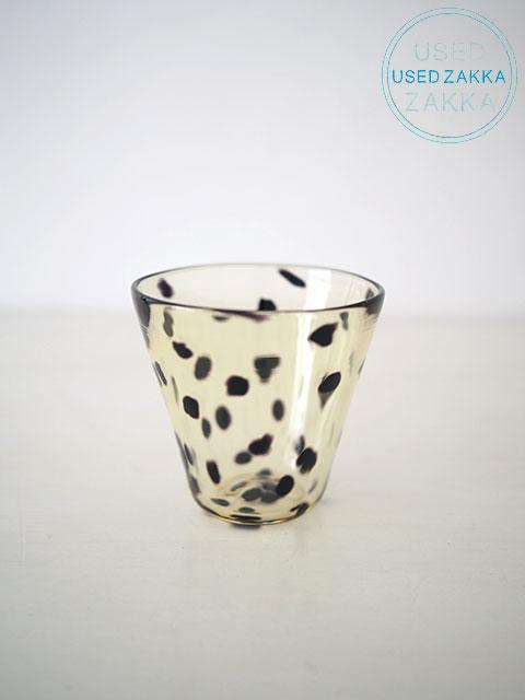 『USED ZAKKA』ガラス製グラス ドット アンバーxドット (国内ガラス作家もの)