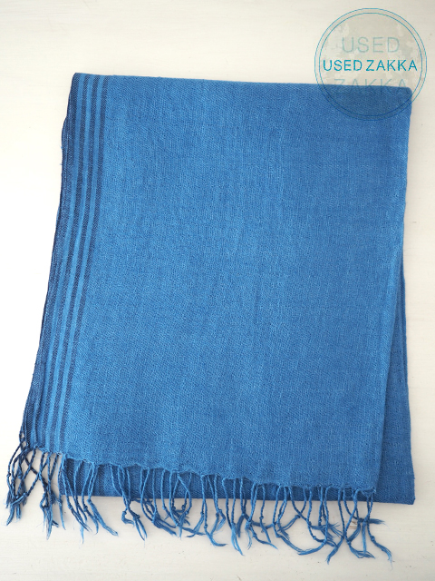『USED ZAKKA』Khadi and Co カディ アンド コー リネン製 ストール/縁ストライプ BLUE