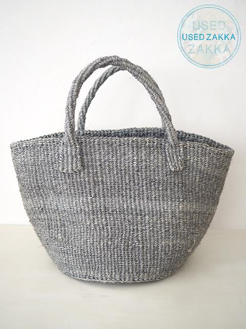 『USED ZAKKA』サイザル麻 カゴバッグ Sisal Bag(9インチ/グレー)