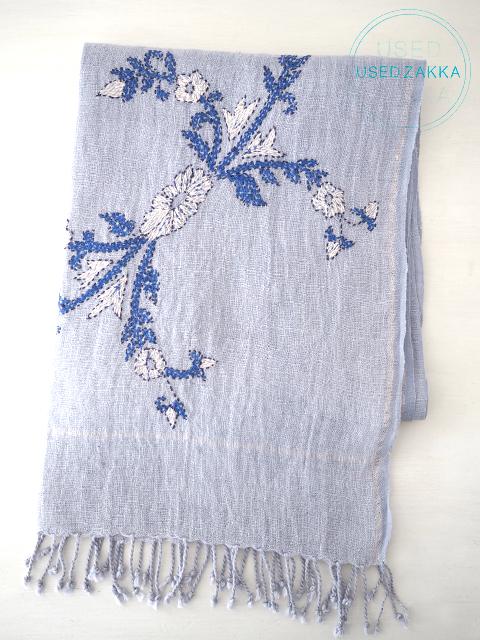 『USED ZAKKA』TANA BANA タナバナ リネン製 ストール/刺繍 PASTEL BLUE