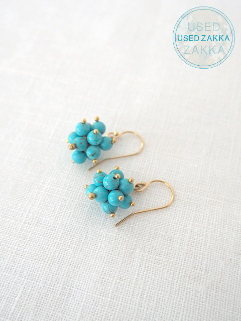 『USED ZAKKA』WENDY MINK ウェンディ ミンク Eerrings 天然石ピアス/Colorful clusters/Turquoise