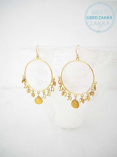 『USED ZAKKA』WENDY MINK ウェンディ ミンク Eerrings 天然石ピアス/Drops/Gold x Yellowstone