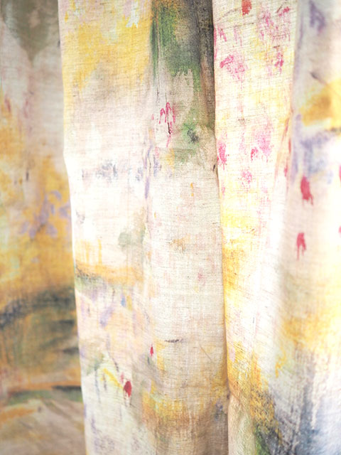 『カーテンフェア セール10%OFF』『SALE セール40%OFF』(お値引き合計50%OFF)メゾン レヴィ Maison Levy リネンカーテン マルチクロス Curtain Linen・JAUNE(W143xH200cm・1枚)