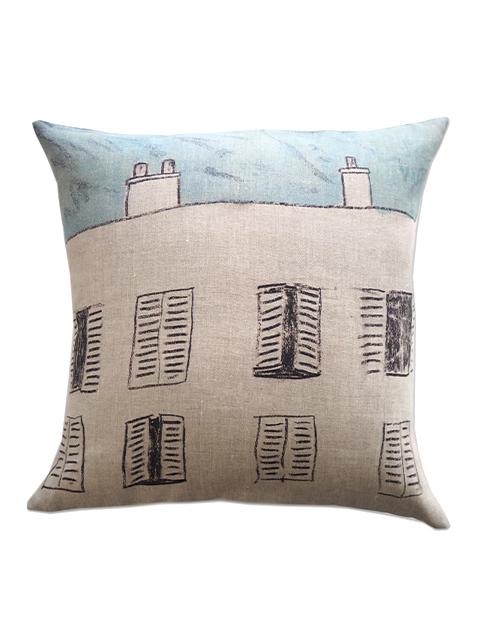 メゾン レヴィ Maison Levy リネンクッションカバー Cushion Cover Linen・FENETRE SUR COUR(W50xH50cm・カバーのみ)