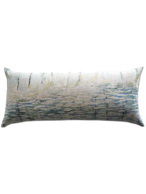 『SALE セール50%OFF』メゾン レヴィ Maison Levy リネンクッションカバー Cushion Cover Linen・AGUA(W70xH32cm・カバーのみ)