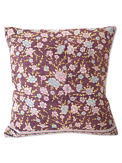 『Sorairo+』オリジナル ヴィンテージカンタ クッションカバー Vintage Kantha Cushion cover(W45xH45cm/Flower/lavender/カバーのみ)Type.A