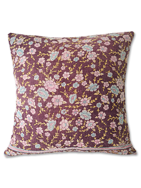 『Sorairo+』オリジナル ヴィンテージカンタ クッションカバー Vintage Kantha Cushion cover(W45xH45cm/Flower/Mauve/カバーのみ)Type.B