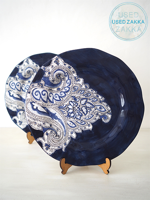 『USED ZAKKA』ANTHROPOLOGIE アンソロポロジー・PAISLEY DINNER PLATE DENIM 磁器製 30cm平皿 ペイズリー柄ディナープレート 2枚セット/デニム