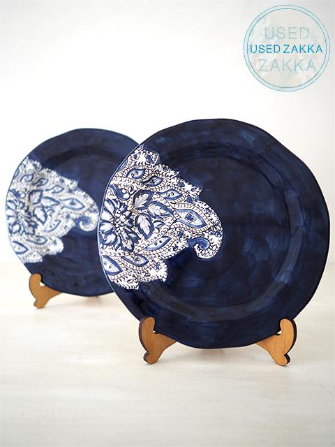 『USED ZAKKA』ANTHROPOLOGIE アンソロポロジー・PAISLEY SALAD PLATE DENIM 磁器製 20cm平皿 ペイズリー柄サラダプレート 2枚セット/デニム