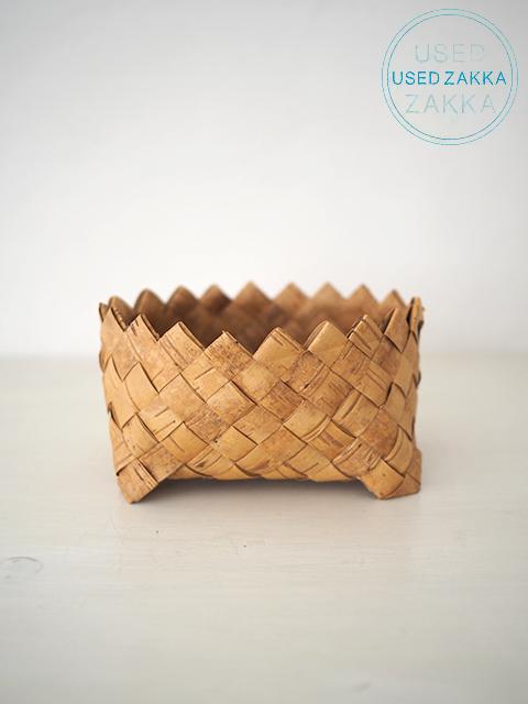 『USED ZAKKA』北欧 フィンランド製 白樺樹皮のギザギザ かごバスケット