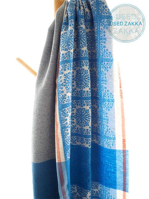 『USED ZAKKA』DEUX THREE ウール製 ミニブランケット ストール/Fauchey/Blue(W67 x H192cm)