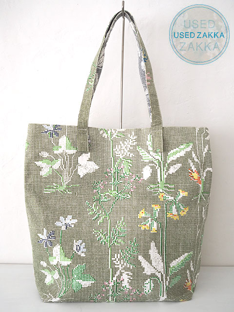 『USED ZAKKA』EPICE エピス コットン製 バッグ/Cross Stitch/Botanical /Khaki x Gray