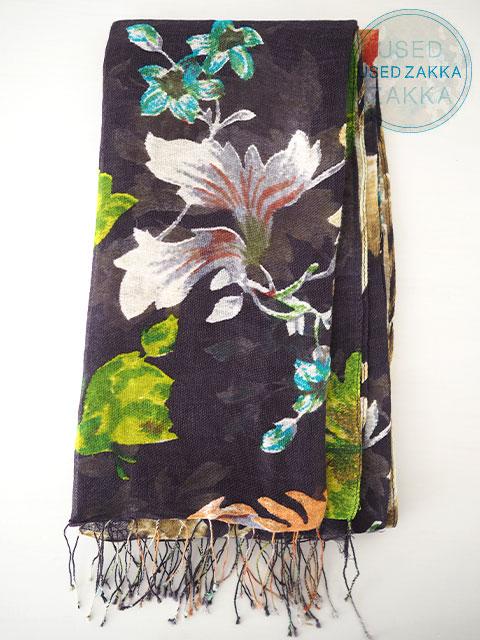 『USED ZAKKA』EPICE エピス リネン製 ストール/Botanical/Charcoal Gray x Green