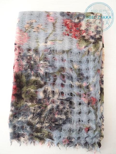 『USED ZAKKA』EPICE エピス ウール製 ストール/Flower/Pastel Blue x Pink