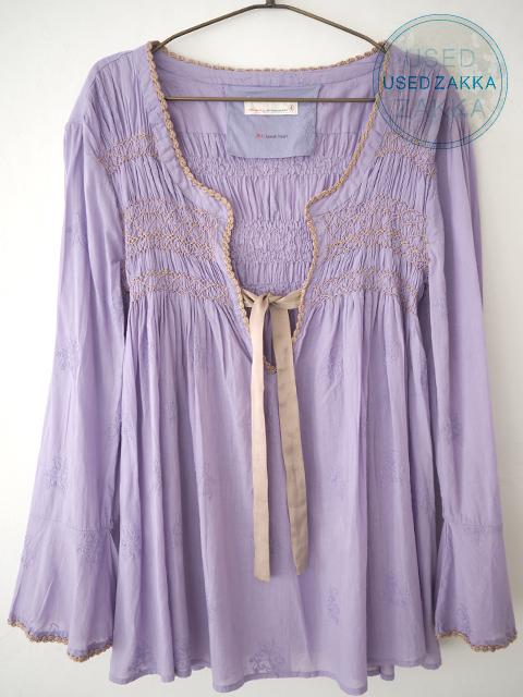 『USED ZAKKA』ODD MOLLY オッド モーリー コットン製 長袖ブラウス/刺繍 Purple(大きめサイズ)