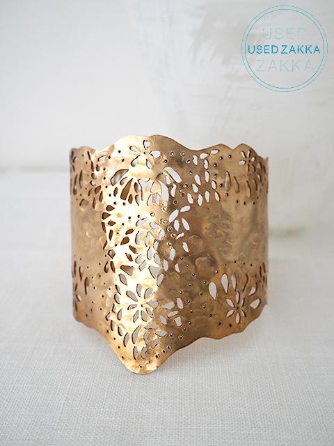 『USED ZAKKA』WENDY MINK ウェンディ ミンク  Cuff カフ バングル/Cutout/Gold x Flower