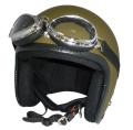 ZK-300(内装外して洗える!)装飾ビンテージゴーグル付き スモールジェット(マットオリーブグリーン)  全排気量対応 社外装着可能