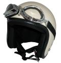 ZK-300(内装外して洗える!)装飾ビンテージゴーグル付き スモールジェット(アイボリー)  全排気量対応 社外装着可能