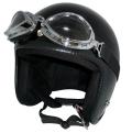 ZK-300(内装外して洗える!)装飾ビンテージゴーグル付き スモールジェット(ブラック)  全排気量対応 社外装着可能