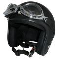 ZK-300(内装外して洗える!)装飾ビンテージゴーグル付き スモールジェット(マットブラック)  全排気量対応 社外装着可