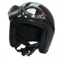 ZK-300(内装外して洗える!)装飾ビンテージゴーグル付き スモールジェット(ブラウン/アイボリー)  全排気量対応 社外装着可能