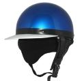 ZK-180 コルク半風半帽(メタリックブルー)耳当て脱着可 SG公認 公道走行可!125cc以下対応 コルク不使用で軽量!