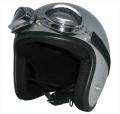 ZK-380 スモールジェット(メタリックシルバー)装飾ビンテージゴーグル付き  全排気量対応 社外シールド装着可能