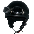 ZK-600 装飾ゴーグル付きハーフジェット(ブラック) SG公認 125cc以下対応!耳当て脱着可