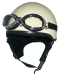 ZK-600 装飾ゴーグル付きハーフジェット(アイボリー) SG公認 125cc以下対応!耳当て脱着可