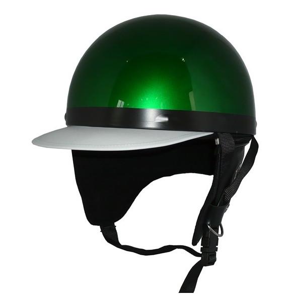 ZK-180 コルク半風半帽(メタリックグリーン)耳当て脱着可 SG公認 公道走行可!125cc以下対応 コルク不使用で軽量!