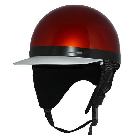 ZK-180 コルク半風半帽(メタリックオレンジ)耳当て脱着可 SG公認 公道走行可!125cc以下対応 コルク不使用で軽量!